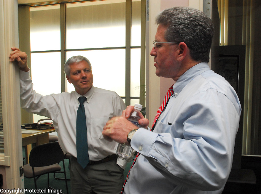 The Times-Picayune editor Jim Amoss and features editor James O'Byrne, New Orleans, Wednesday, April 5, 2006..(Cheryl Gerber for New York Times)..