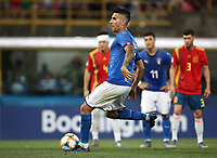 Football: Uefa European under 21 Championship 2019 Italy - Spain Renato Dall'Ara stadium Bologna Italy on June16, 2019.<br /> Italy's Lorenzo Pellegrini kicks a penalty and scores during the Uefa European under 21 Championship 2019 football match between Italy and Spain at Renato Dall'Ara stadium in Bologna, Italy on June16, 2019.<br /> UPDATE IMAGES PRESS/Isabella Bonotto