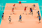 Middle blocker Mai Okumura of Japan (R) spikes the ball during the FIVB Volleyball World Grand Prix match between Japan vs Russia on 23 July 2017 in Hong Kong, China. Photo by Marcio Rodrigo Machado / Power Sport Images
