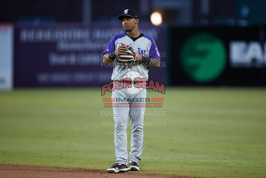 Winston-Salem Dash second baseman Yolbert Sanchez (2) on defense against the Greensboro Grasshoppers at First National Bank Field on June 3, 2021 in Greensboro, North Carolina. (Brian Westerholt/Four Seam Images)