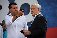 Italian center-right leaders, Antonio Tajani (Forza Italia), and Matteo Salvini (Lega Nord) during the demonstration of the center-right parties at Piazza del Popolo, Together for the Italy of work. Rome (Italy), July 4th 2020<br /> Foto Insidefoto