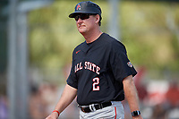 Ball State Cardinals head coach Rich Maloney (2) during a game against the Saint Joseph's Hawks on March 9, 2019 at North Charlotte Regional Park in Port Charlotte, Florida.  Ball State defeated Saint Joseph's 7-5.  (Mike Janes/Four Seam Images)