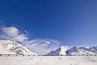 Trans Alaska oil pipeline at the base of Atigun Pass, Brooks Range, Alaska