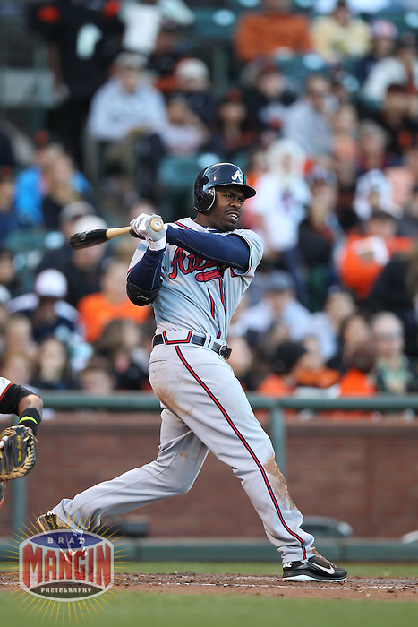 SAN FRANCISCO, CA - AUGUST 26:  Michael Bourn #24 of the Atlanta Braves bats against the San Francisco Giants during the game at AT&T Park on Sunday, August 26, 2012 in San Francisco, California. Photo by Brad Mangin
