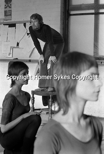 Norman Morrice, director of the Ballet Rambert London 1971. Dance studio rehearsal for That is the Show.<br /> Dancers Susie Cooper, (on left) Amanda Knott (right)