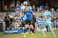 SAN JOSE, CA - AUGUST 17: Paul Marie #3 of the San Jose Earthquakes is challenged on the air by Romain Metanire #19 of Minnesota United during a game between San Jose Earthquakes and Minnesota United FC at PayPal Park on August 17, 2021 in San Jose, California.
