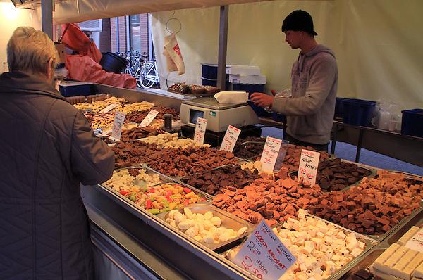 Chocolate vendor at the Albert Cuyp Market, Amsterdam, Netherlands