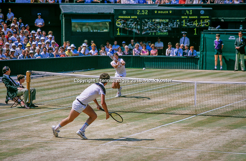 London, England, 8 th. July, 1984, Tennis,  Wimbledon, Final: John McEnroe (USA) (foreground) defeats Jimmy Connors (USA) in straight sets 6-1 6-1 6-2.<br /> Photo: Henk Koster/tennisimages.com