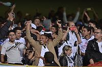 BOGOTÁ -COLOMBIA-23-02-2016. Hinchas de Once animan a su equipo durante el partido entre Fortaleza FC y Once Caldas por la fecha 6 de Liga Águila I 2016 jugado en el estadio Metropolitano de Techo en Bogotá./ Fans of Once cheer for their team during the match between Fortaleza FC and Once Caldas for the date 6 of the Aguila League I 2016 played at Metropolitano de Techo stadium in Bogota. Photo: VizzorImage / Gabriel Aponte / Staff