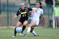 Texas State midfielder Maddie Nichols (15)  and Appalachian State forward Aubrey Fletcher (21) during NCAA soccer game, Sunday, October 05, 2014 in San Marcos, Tex. Texas State leads 1-0 at the halftime. (Mo Khursheed/TFV Media via AP Images)