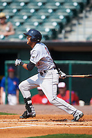 Scranton/Wilkes-Barre RailRiders outfielder Mason Williams (9) at bat during a game against the Buffalo Bisons on June 10, 2015 at Coca-Cola Field in Buffalo, New York.  Scranton/Wilkes-Barre defeated Buffalo 7-2.  (Mike Janes/Four Seam Images)