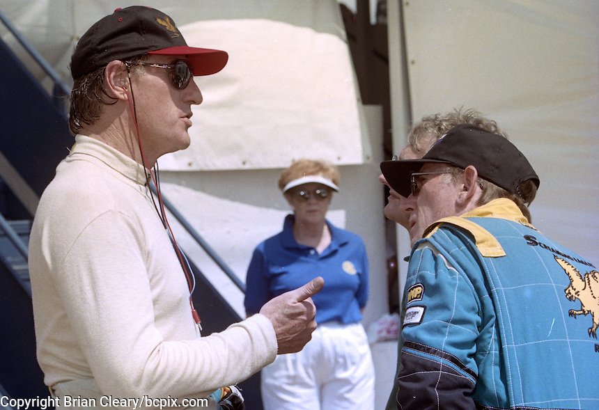 Actor/driver Craig T. Nelson talks with teammates before at the 12 Hours of Sebring, Sebring Raceway, Sebring, FL, March 15, 1997.  (Photo by Brian Cleary/www.bcpix.com)