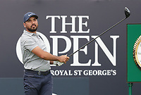 13th July 2021; The Royal St. George's Golf Club, Sandwich, Kent, England; The 149th Open Golf Championship, practice day; Jason Day (AUS) watches his tee shot at the 1st hole