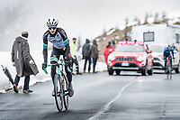 Simon Yates (GBR/Bike Exchange) coming over the Passo Giau<br /> <br /> due to the bad weather conditions the stage was shortened (on the raceday) to 153km and the Passo Giau became this years Cima Coppi (highest point of the Giro).<br /> <br /> 104th Giro d'Italia 2021 (2.UWT)<br /> Stage 16 from Sacile to Cortina d'Ampezzo (shortened from 212km to 153km)<br /> <br /> ©kramon
