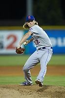 Kingsport Mets relief pitcher Christian Tripp (32) in action against the Burlington Royals at Burlington Athletic Stadium on July 27, 2018 in Burlington, North Carolina. The Mets defeated the Royals 8-0.  (Brian Westerholt/Four Seam Images)