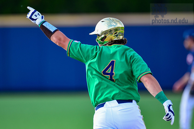 June 5, 2021; Carter Putz (4) celebrates while circling the bases on a home run against Uconn in the NCAA Baseball regional tournament at Eck Baseball Stadium. (Photo by Matt Cashore/University of Notre Dame)
