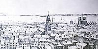 New York:  Panorama 1842-45.  From Fulton & William Streets.  Edward Burkhardt.  Kouwenhoven, p. 190.