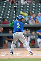 Second baseman Rubendy Jaquez (2) of the Lexington Legends bats in a game against Columbia Fireflies on Thursday, June 13, 2019, at Segra Park in Columbia, South Carolina. Lexington won, 10-5. (Tom Priddy/Four Seam Images)
