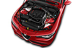 Car stock 2017 Alfa Romeo Giulia Veloce 4 Door Sedan engine high angle detail view