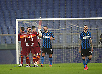 Football, Serie A: AS Roma -  FC Internazionale Milano, Olympic stadium, Rome, January 10, 2021. <br /> Roma's players greets Inter's players at the end of the Italian Serie A football match between Roma and Inter at Rome's Olympic stadium, on January 10, 2021.<br /> The game ended in a 2-2 draw.  <br /> UPDATE IMAGES PRESS/Isabella Bonotto