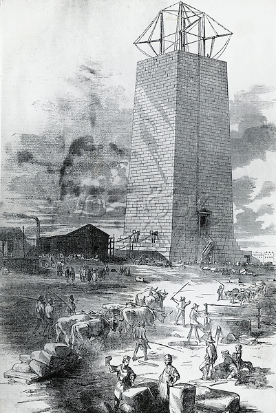 Building The National Monument To Washington 1852 Artist Unknown