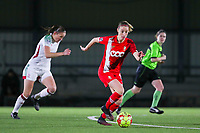Charlotte Cranshoff (18 Standard) with the ball during a female soccer game between Oud Heverlee Leuven and Standard Femina De Liege on the 10th matchday of the 2020 - 2021 season of Belgian Womens Super League , sunday 20 th of December 2020  in Heverlee , Belgium . PHOTO SPORTPIX.BE | SPP | SEVIL OKTEM