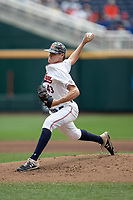 Auburn Tigers pitcher Richard Fitts (43) delivers a pitch to the plate during Game 7 of the NCAA College World Series against the Louisville Cardinals on June 18, 2019 at TD Ameritrade Park in Omaha, Nebraska. Louisville defeated Auburn 5-3. (Andrew Woolley/Four Seam Images)