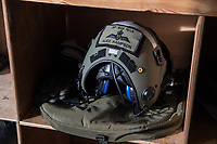 Pilot helmet ready for use by its owner. British Merlin helicopter practice in the Arctic, over the terrain near Bardufoss, Norway. <br /> In 2019 the Arctic exercise Clockwork passed 50 years of training in Norway, and now has a permanent base within the Norwegian Air Force base at Bardufoss. <br /> <br /> 845 Naval Air Squadron is a squadron of the Royal Navy's Fleet Air Arm. Part of the Commando Helicopter Force, it is a specialist amphibious unit operating the Commando Merlin Mk3 helicopter and provides troop transport and load lifting support to 3 Commando Brigade Royal Marines.<br /> <br /> ©Fredrik Naumann/Felix Features
