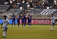 KANSAS CITY, KS - SEPTEMBER 23: Orlando SC players celebrate their goal in the first half during a game between Orlando City SC and Sporting Kansas City at Children's Mercy Park on September 23, 2020 in Kansas City, Kansas.