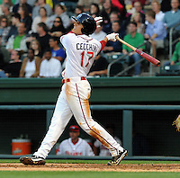 Third baseman Garin Cecchini (17) of the Greenville Drive in a game against the Augusta GreenJackets on April 19, 2012, at Fluor Field at the West End in Greenville, South Carolina. Ceccini is the No. 7 prospect for the Boston Red Sox, according to Baseball America. (Tom Priddy/Four Seam Images)