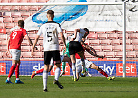 24th April 2021, Oakwell Stadium, Barnsley, Yorkshire, England; English Football League Championship Football, Barnsley FC versus Rotherham United; Mads Juel Andersen of Barnsley throwing his body on the line to defend Barnsley's 1-0 lead