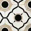 Wesley Petite, a waterjet mosaic shown in polished White Onyx, Calacatta, and Nero Marquina, is part of the Aurora® collection by New Ravenna.