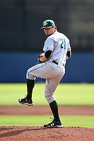 Daytona Tortugas pitcher Nick Travieso (21) delivers a pitch during a game against the Charlotte Stone Crabs on April 14, 2015 at Charlotte Sports Park in Port Charlotte, Florida.  Charlotte defeated Daytona 2-0.  (Mike Janes/Four Seam Images)
