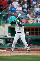 Fort Wayne TinCaps catcher Webster Rivas (8) at bat during a game against the Wisconsin Timber Rattlers on May 10, 2017 at Parkview Field in Fort Wayne, Indiana.  Fort Wayne defeated Wisconsin 3-2.  (Mike Janes/Four Seam Images)