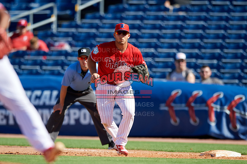 Philadelphia Phillies first baseman Austin Listi (76) during a Grapefruit League Spring Training game against the Baltimore Orioles on February 28, 2019 at Spectrum Field in Clearwater, Florida.  Orioles tied the Phillies 5-5.  (Mike Janes/Four Seam Images)