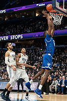 WASHINGTON, DC - FEBRUARY 05: Omer Yurtseven #44 and Jamorko Pickett #1 of Georgetown cn only watch as Romaro Gill #35 of Seton Hall goes in for a basket during a game between Seton Hall and Georgetown at Capital One Arena on February 05, 2020 in Washington, DC.