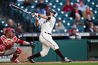 Texas A&M Aggies shortstop Blake Allemand (1) follows through on his swing during Houston College Classic against the Nebraska Cornhuskers on March 6, 2015 at Minute Maid Park in Houston, Texas. Texas A&M defeated Nebraska 2-1. (Andrew Woolley/Four Seam Images)