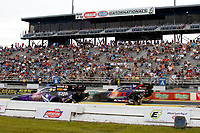 27th September 2020, Gainsville, Florida, USA;  Funny Cars pass the grandstands during the 51st annual Amalie Motor Oil NHRA Gatornationals