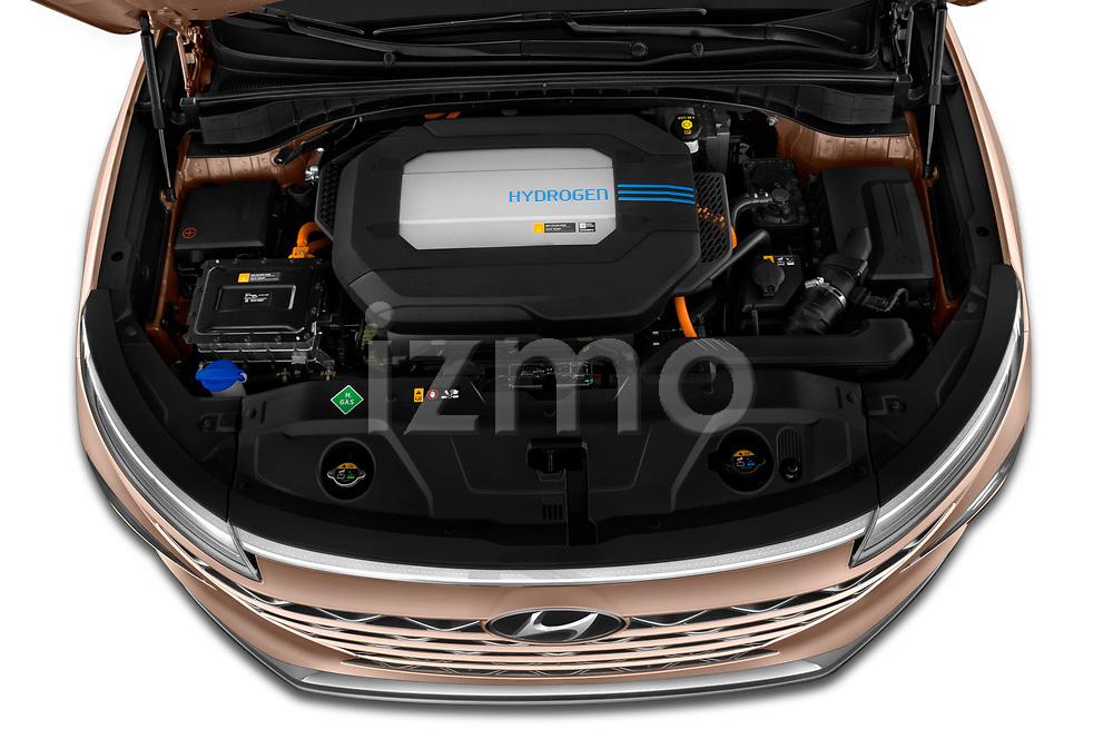 Car Stock 2019 Hyundai Nexo - 5 Door SUV Engine  high angle detail view