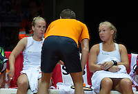 Arena Loire,  Trélazé,  France, 16 April, 2016, Semifinal FedCup, France-Netherlands, Doubles: Hogenkamp (L) Bertens (NED) are coaches by captain Paul Haarhuis<br /> Photo: Henk Koster/Tennisimages