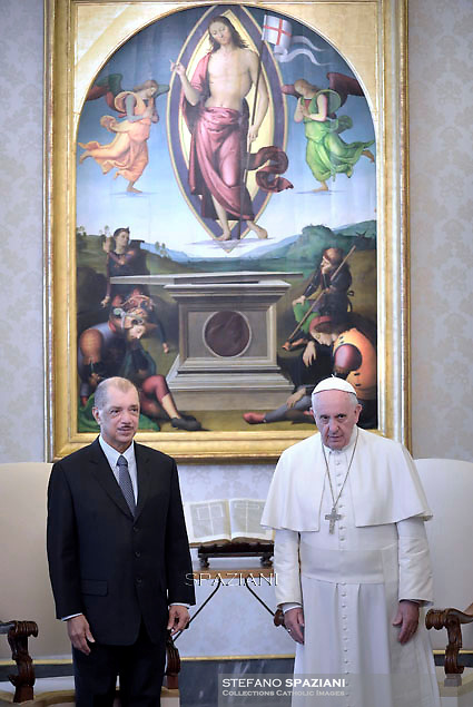 Pope Francis during a meeting with Seychelles President James Michel at the end of a private audience at the Vatican on April 30, 2015.
