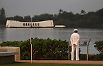 An unidentified sailor waits for the start of the 71st Anniversary Pearl Harbor Day Commemoration at the Pearl Harbor Visitor Center in Honolulu, HI on, Dec. 7, 2012. .Photo by Cathleen Allison
