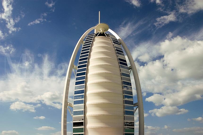Dubai, United Arab Emirates. Burj al Arab Hotel at Jumeira Beach designed by Thomas Wills Wright, architect, of W. S. Atkins..