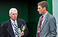 30 March 2008: Baseball Hall of Fame journalist Peter Gammons (left) talks with Washington Nationals' Mdia Director John Dever (right) prior to the inaugural game of Nationals Park between the Atlanta Braves and the Washington Nationals in Washington, DC. The Nationals christened their new ballpark with a 3-2 win over the visiting Braves...Mandatory Photo Credit: Ed Wolfstein Photo