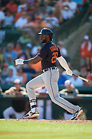 Detroit Tigers first baseman Niko Goodrum (28) hits a single during a Grapefruit League Spring Training game against the Baltimore Orioles on March 3, 2019 at Ed Smith Stadium in Sarasota, Florida.  Baltimore defeated Detroit 7-5.  (Mike Janes/Four Seam Images)