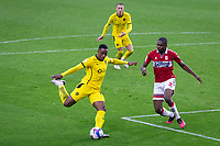 3rd October 2020; Riverside Stadium, Middlesbrough, Cleveland, England; English Football League Championship Football, Middlesbrough versus Barnsley; Victor Adeboyejo of Barnsley FC spins past Anfernee Dijksteel of Middlesbrough FC to get a shot on goal