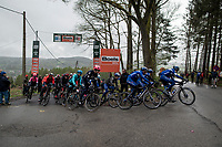 Team Deceuninck - Quick Step on top of the Côte de Stockeu (stèle Eddy Merckx)<br /> <br /> 105th Liège-Bastogne-Liège 2019 (1.UWT)<br /> One day race from Liège to Liège (256km)<br /> <br /> ©kramon