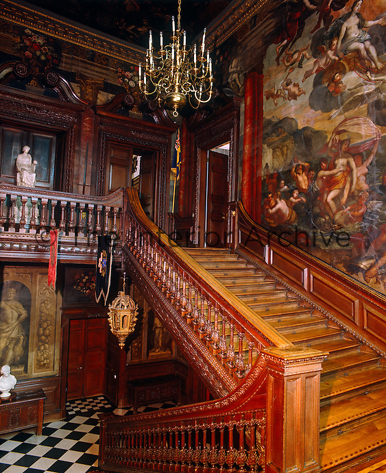 The Grand Staircase at Powis Castle, attributed to Captain William Winde, has walls which were decorated in 1705 by Gerard Lanscroon, a pupil of Verrio