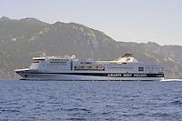 """- ferry """"La Suprema"""" of the Grandi Navi Veloci company in navigation offshore the Elba island....- nave traghetto """"La Suprema""""della compagnia Grandi Navi veloci in navigazione al largo dell'Isola D'Elba"""