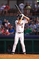 Tri-City ValleyCats outfielder Aaron Mizell (8) at bat during a game against the Brooklyn Cyclones on September 1, 2015 at Joseph L. Bruno Stadium in Troy, New York.  Tri-City defeated Brooklyn 5-4.  (Mike Janes/Four Seam Images)